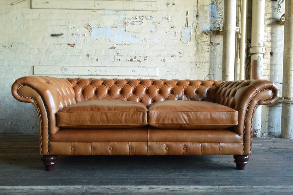 Handmade 3 Seater Vintage Antique Tan Leather Chesterfield