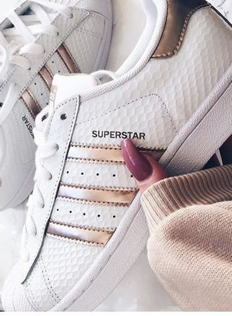 shoes superstar adidas adidas superstars cute sneakers white gold weheartit  tumblr white shoes amazing cute girly