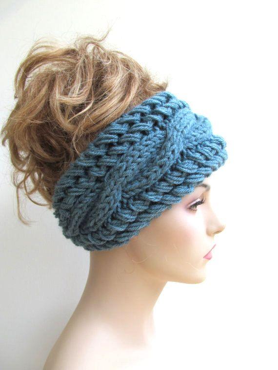 Cable Headbands Knit Ear Warmers Button Aqua Teal Blue Fall ...