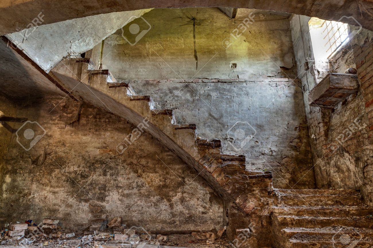 dark basement stairs. Dark Basement With Stairs And Window Of An Old Abandoned Country .