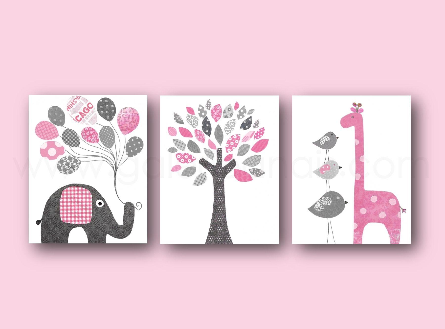 Lot de 3 illustrations 30x40cm pour chambre d 39 enfant et bebe art decor rose et gris art - Cadre pour chambre enfant ...