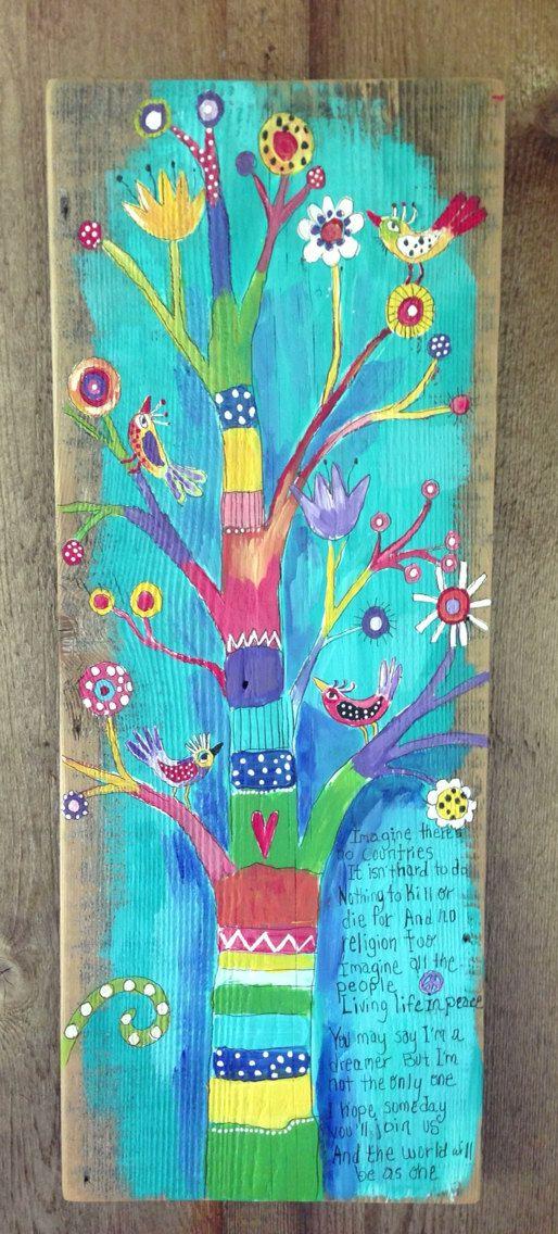 Peace Tree Original Painting On Reclaimed Wood By Evesjulia12 68 00 Malerier Ideer Malerier Farver