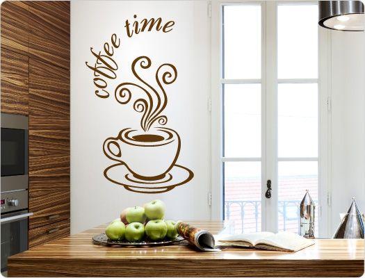 Wandtattoo Coffee time Lustige Kaffee Sprüche und Motive für die