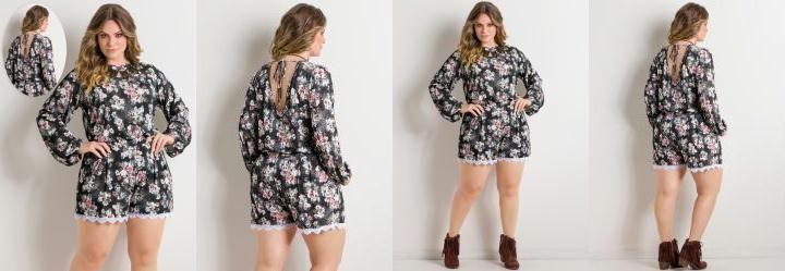 Macaquinho Floral com Detalhe de Renda Plus Size