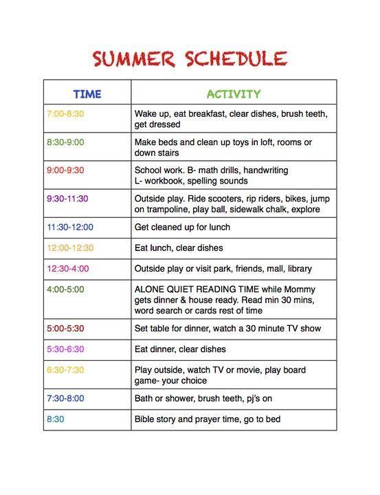 Summer schedule #summerschedule Summer schedule #summerschedule