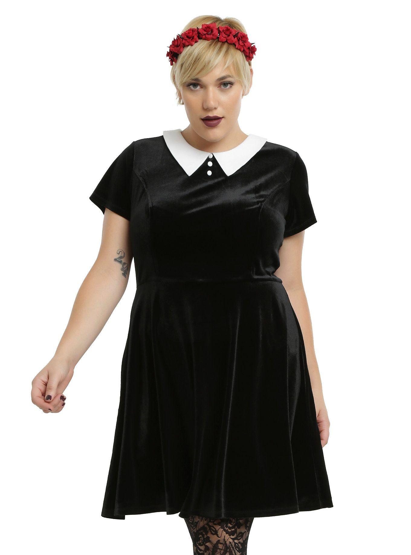 Black u white collar velvet dress plus size girly alternative