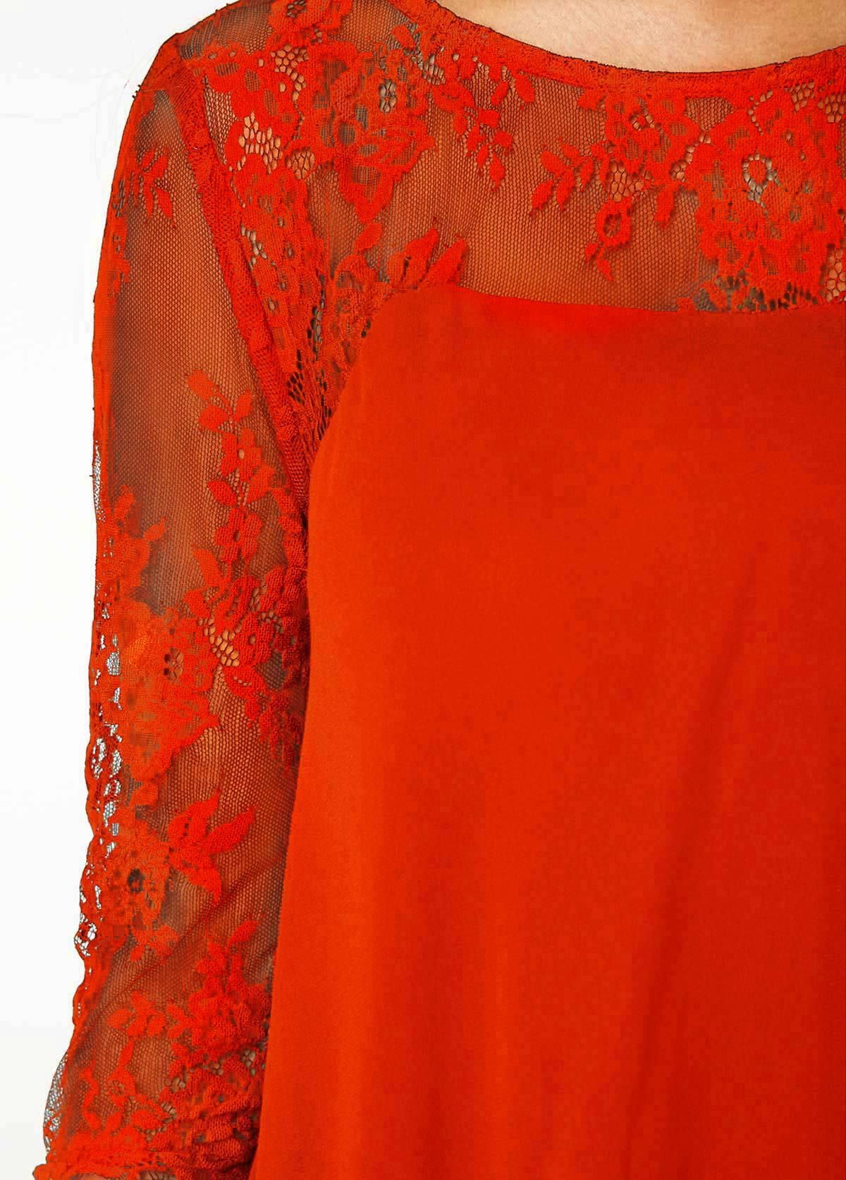 ac63d8a443d Orange Chiffon Overlay Three Quarter Sleeve Lace Dress  Overlay ...