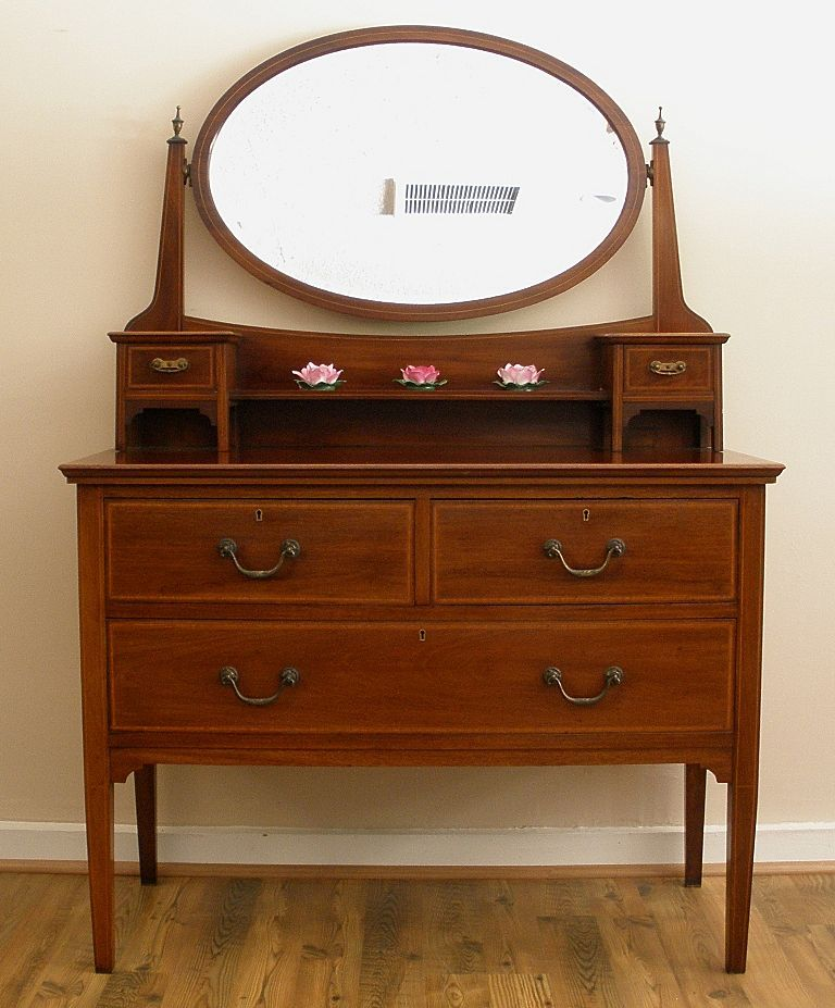 Antique English Mahogany Edwardian Inlaid Dressing Table With Mirror