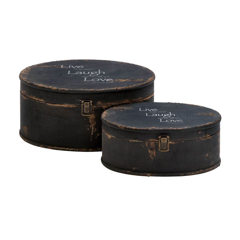 Round Decorative Boxes: Rustic Round Storage Boxes Stamped With 'Live, Laugh, Love