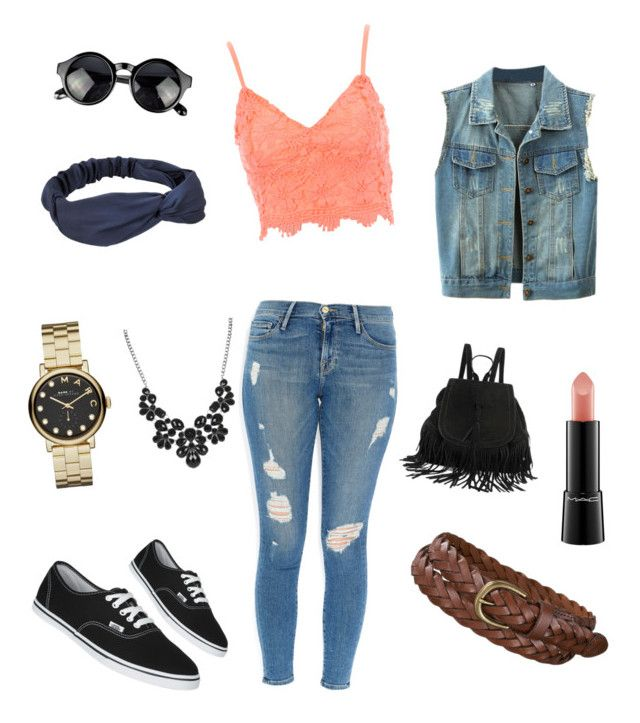 """""""de regreso  """" by anaiitzel on Polyvore featuring Frame Denim, Jane Norman, Vans, Uniqlo, Marc by Marc Jacobs and MAC Cosmetics"""
