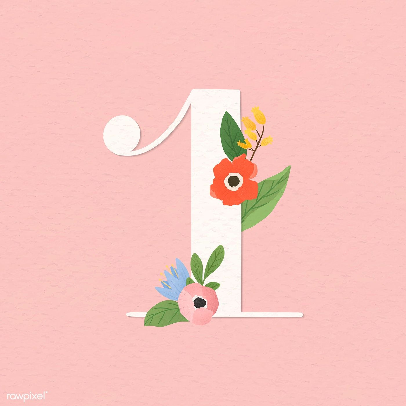 Download Premium Vector Of Watercolor Floral Number 1 Vector