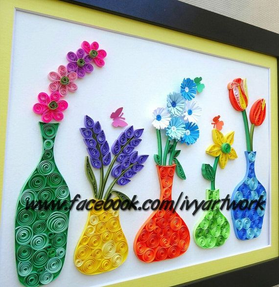 85 Paper Quilled Colorful Flowers With Pot Holders In Vase