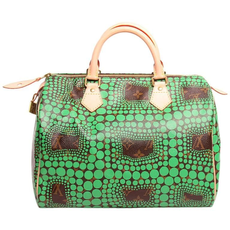 d2f0b5d8017a Louis Vuitton Limited Edition Green Yayoi Kusama Speedy 30 Satchel ...