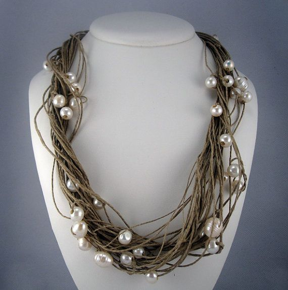 Freshwater Pearls Linen Natural Necklace knots di espurna88, €23.99