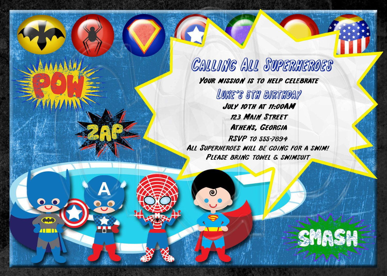 Super Hero Invitation Superhero Pool Party -Digital File. $12.00 ...