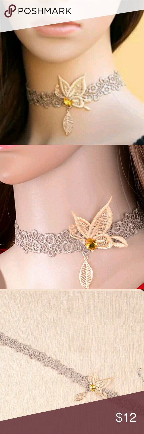 Retro Butterfly Lace Choker Necklace This is a beautiful tan lace embroidered choker with a cream colored butterfly, a orange gemstone, and a yellow leaf dangling from the bottom. Brand new Retro Jewelry Necklaces