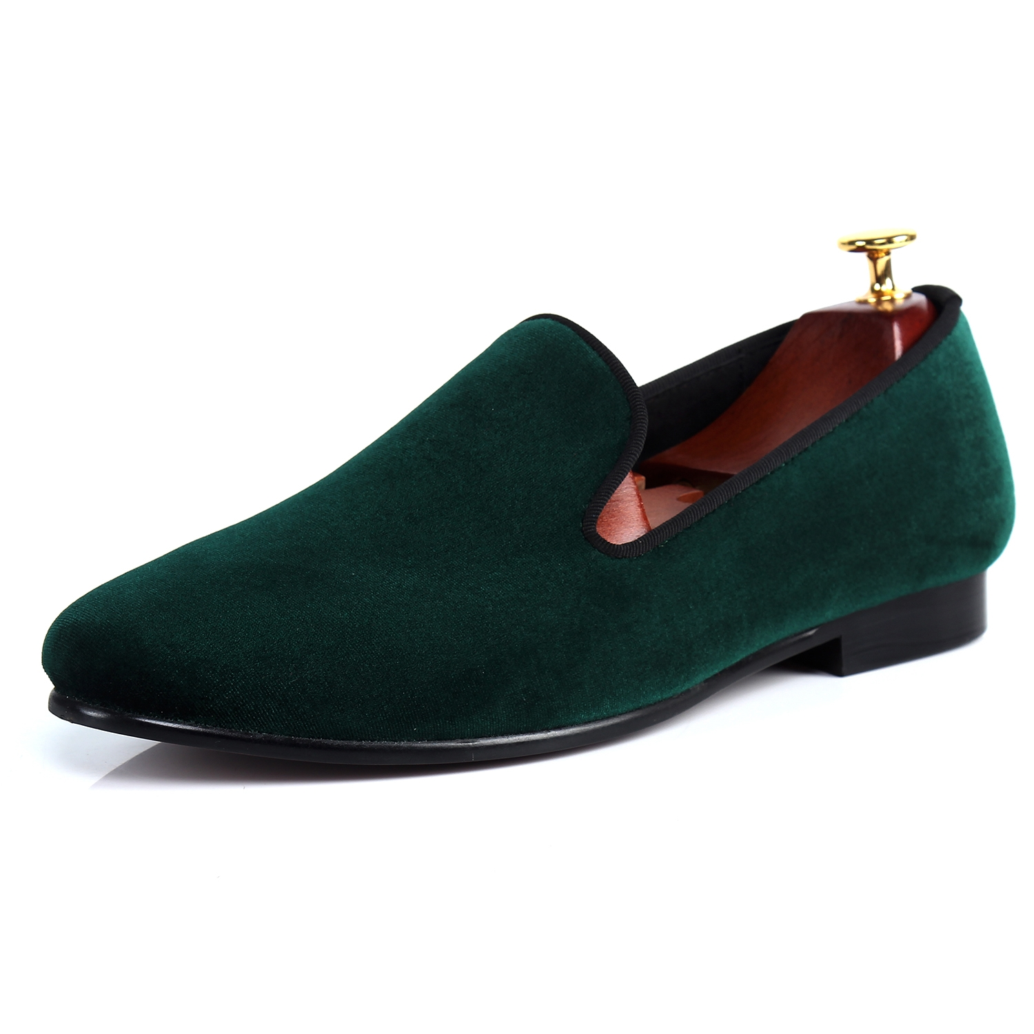 038e710d96f3 68.80  Watch here - Harpelunde Green Velvet Loafer Shoes For Men Flat  Wedding Shoes Handmade Plain Formal Shoes Size 7-14