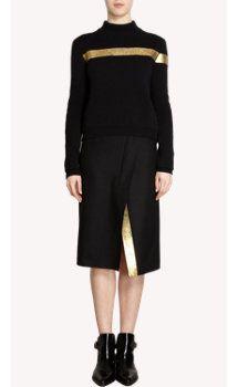 Jil Sander Front Striped Mock Neck Sweater