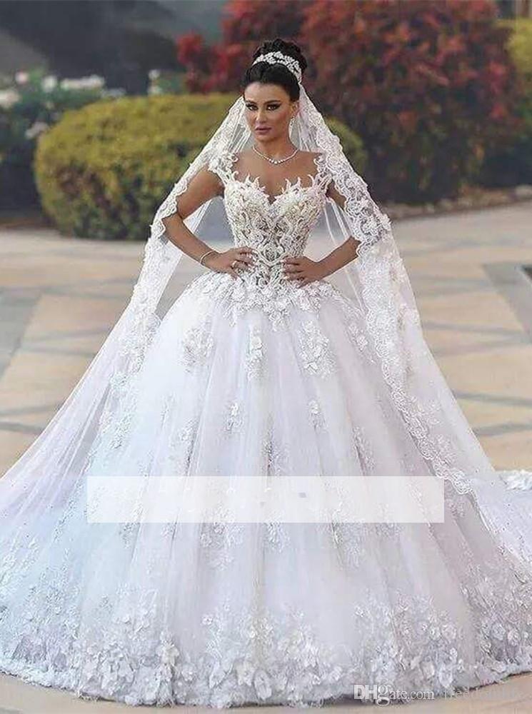 Luxurious Princess Wedding Dresses 3d Floral Appliques Cap Sleeve Ball Gowns Bridal Gowns Chapel Train Bodice Wedding Dress Wedding Dresses Ball Gowns Wedding,Wedding Dresses Catalogs Free By Mail