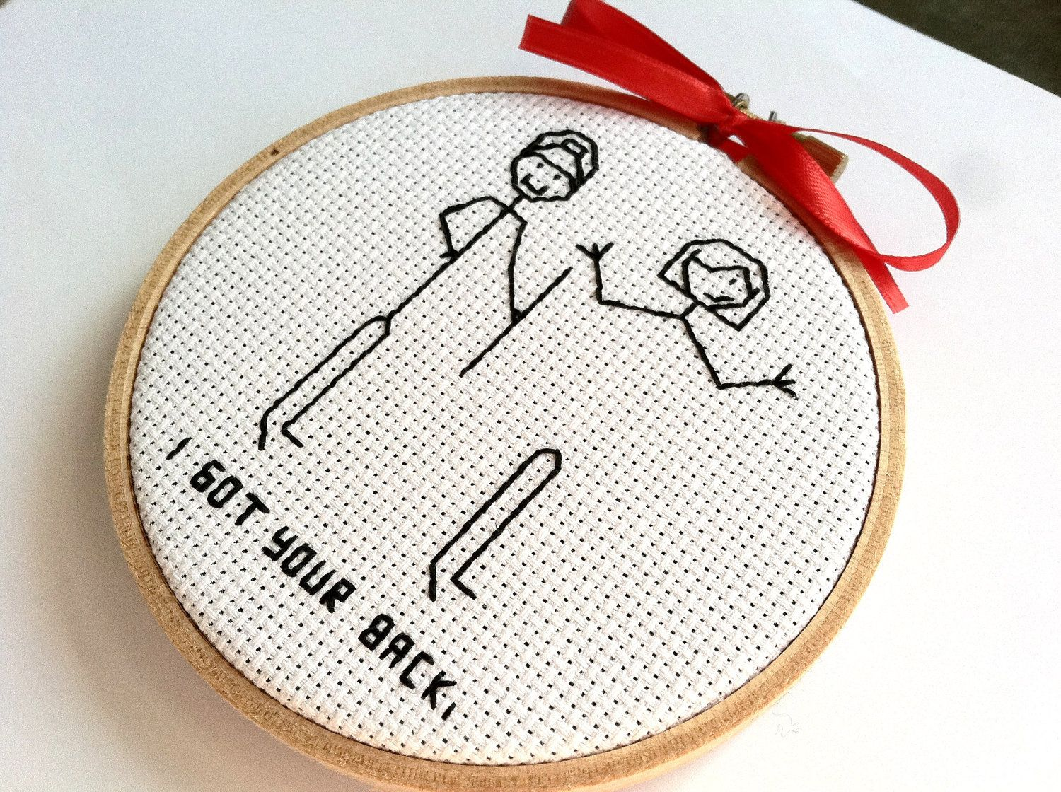 Friendship funny valentines gift embroidery by