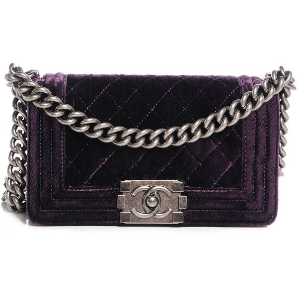 CHANEL Velvet Quilted Small Boy Flap Purple ❤ liked on Polyvore featuring bags, handbags, shoulder bags, chanel bags, purple shoulder bag, quilted chain strap shoulder bag, quilted shoulder bags, purple handbags and kiss-lock handbags