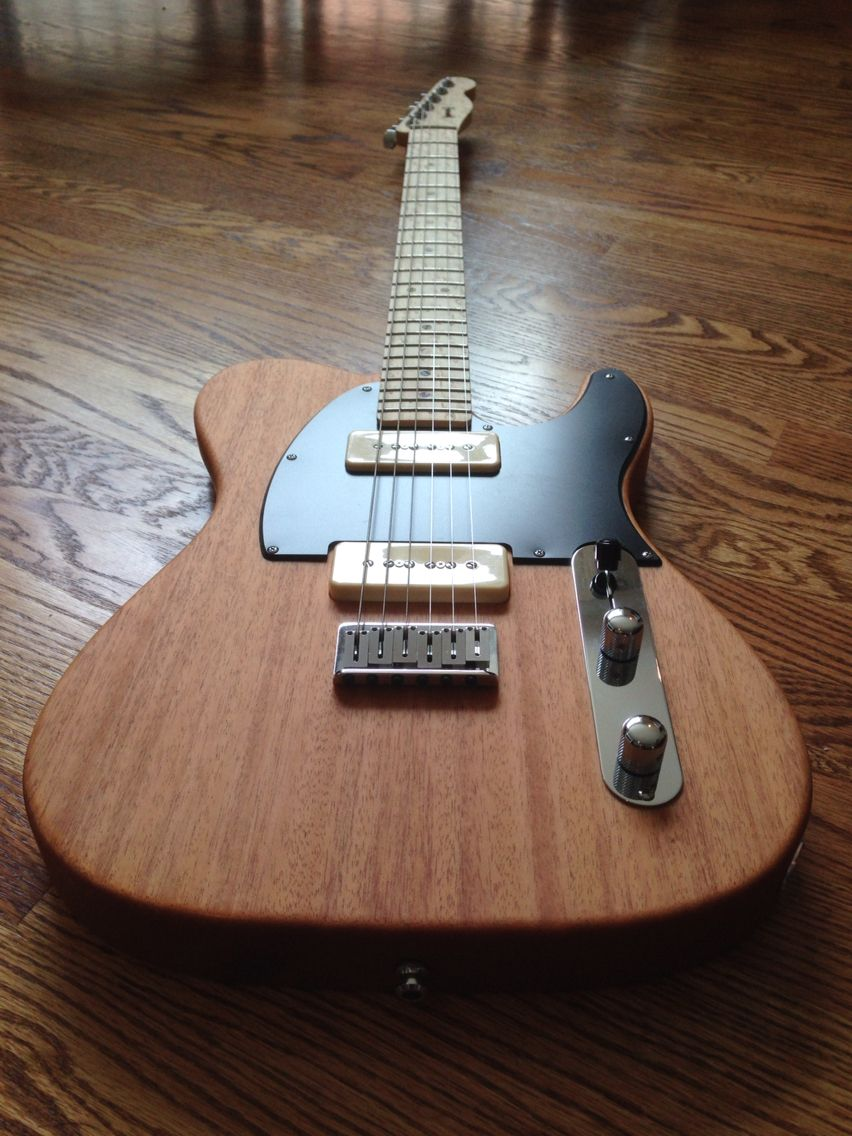 custom warmoth telecaster with p90s mahogany body with birdseye maple neck pickups handmade by. Black Bedroom Furniture Sets. Home Design Ideas