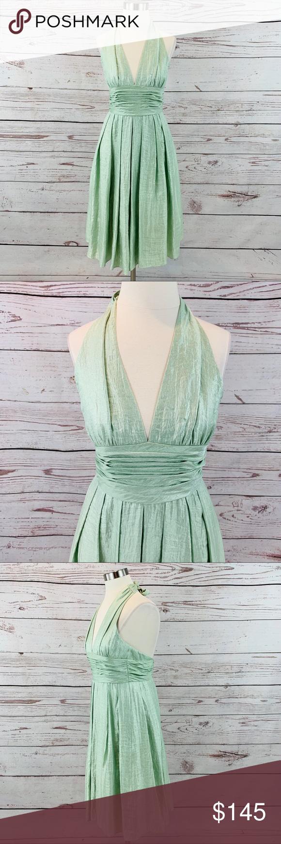 Adrianna Papell green halter neck sparkling dress Adrianna ...