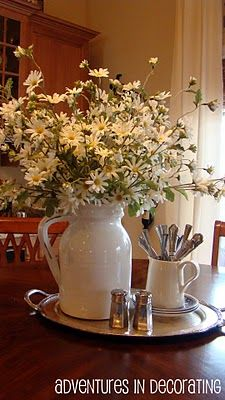 Perfect daisies in a lovely white pitcher such cute spring decor perfect daisies in a lovely white pitcher such cute spring decor for a kitchen kitchen table decorationscenterpiece workwithnaturefo