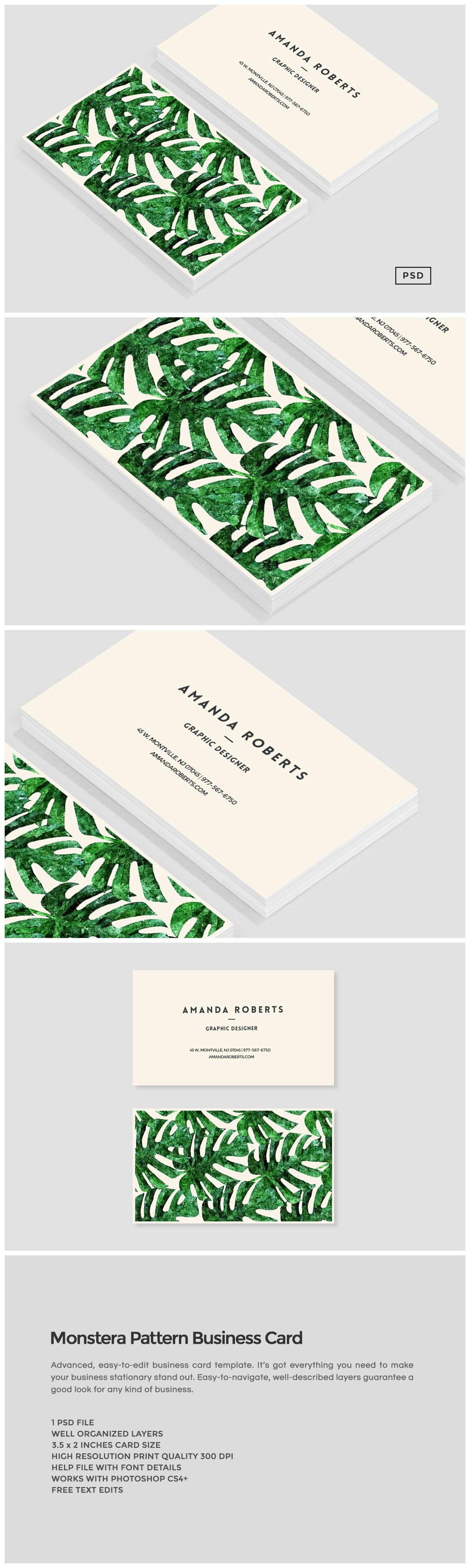 Monstera Pattern Business Card Business Card Pattern Business Cards Creative Templates Business Card Design