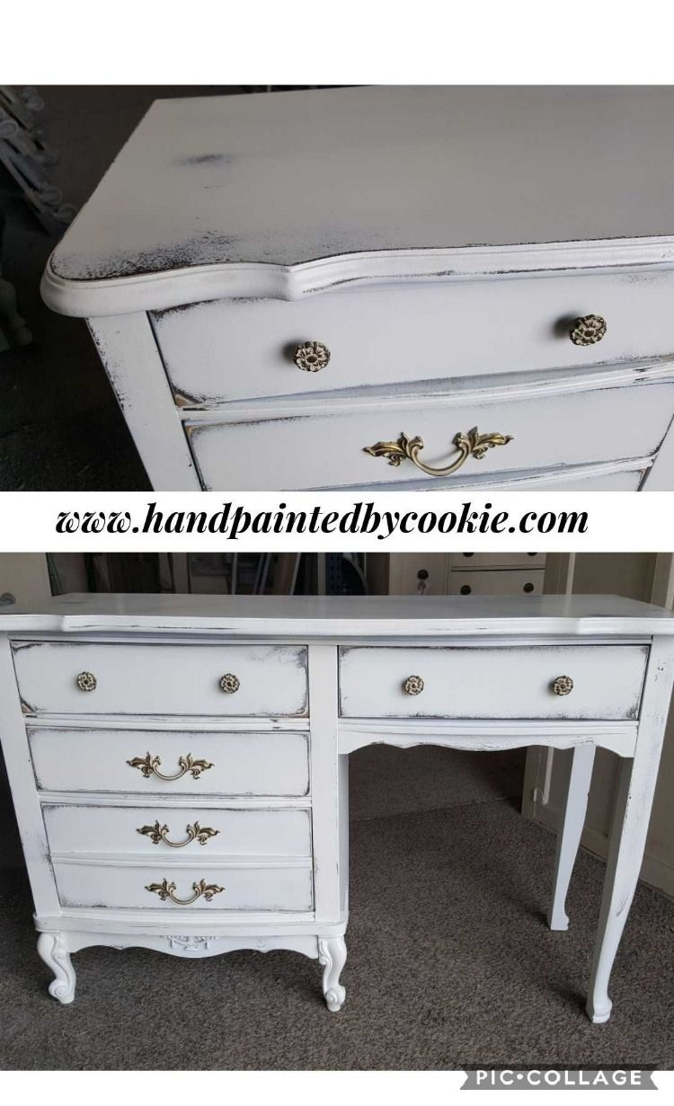 Vintage Painted Frenchprovincial Desk In Sherwin Williams White We First Painted It Brown With A White Top Co French Provincial French Provincial Furniture