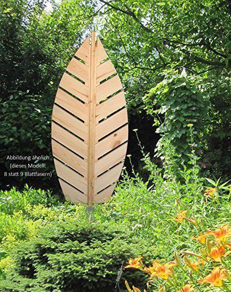 """dobar Pflanzen-Rankhilfe, Design-Gartenelement""""Rankblatt"""", Größe L, Garten-Deko mit Erdspieß, Kiefer, natur, 57x11x142 cm, 58223e"""