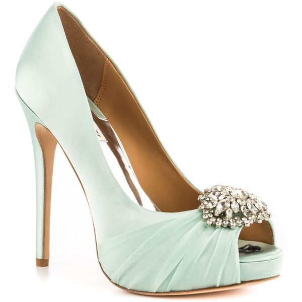 Badgley Mischka Women's Pettal - Glc Satin ($245) ❤ liked on Polyvore featuring shoes, pumps, heels, shoes - heels, high heels, stiletto heels, formal, platform, open toe and women