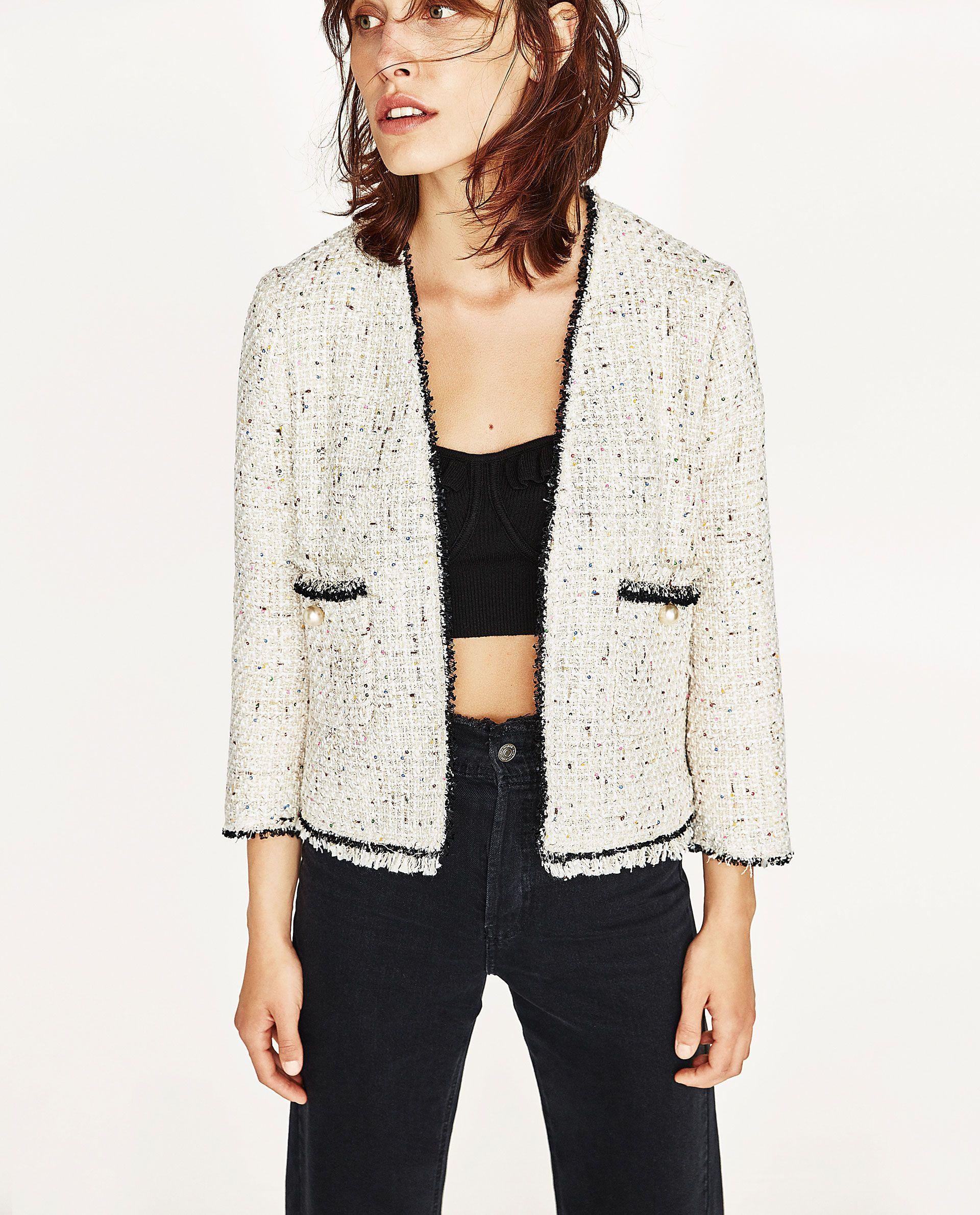 363f65cf53c8 SEQUINNED TWEED JACKET | Zara | Chanel tweed jacket, Tweed jacket ...