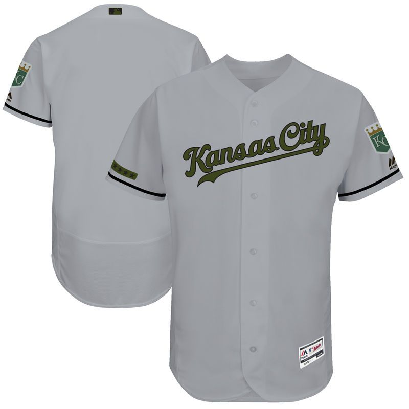 272001f26c2 Kansas City Royals Majestic 2017 Memorial Day Authentic Collection Flex  Base Team Jersey - Gray