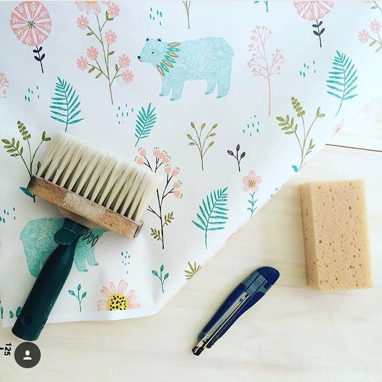 """@under.the.almond.tree preps for an adorable wallpaper project in her child's room with the help of """"Garden Bears"""" by @bethanjanine 🐻🌷 Shop this wallpaper in our profile link!"""