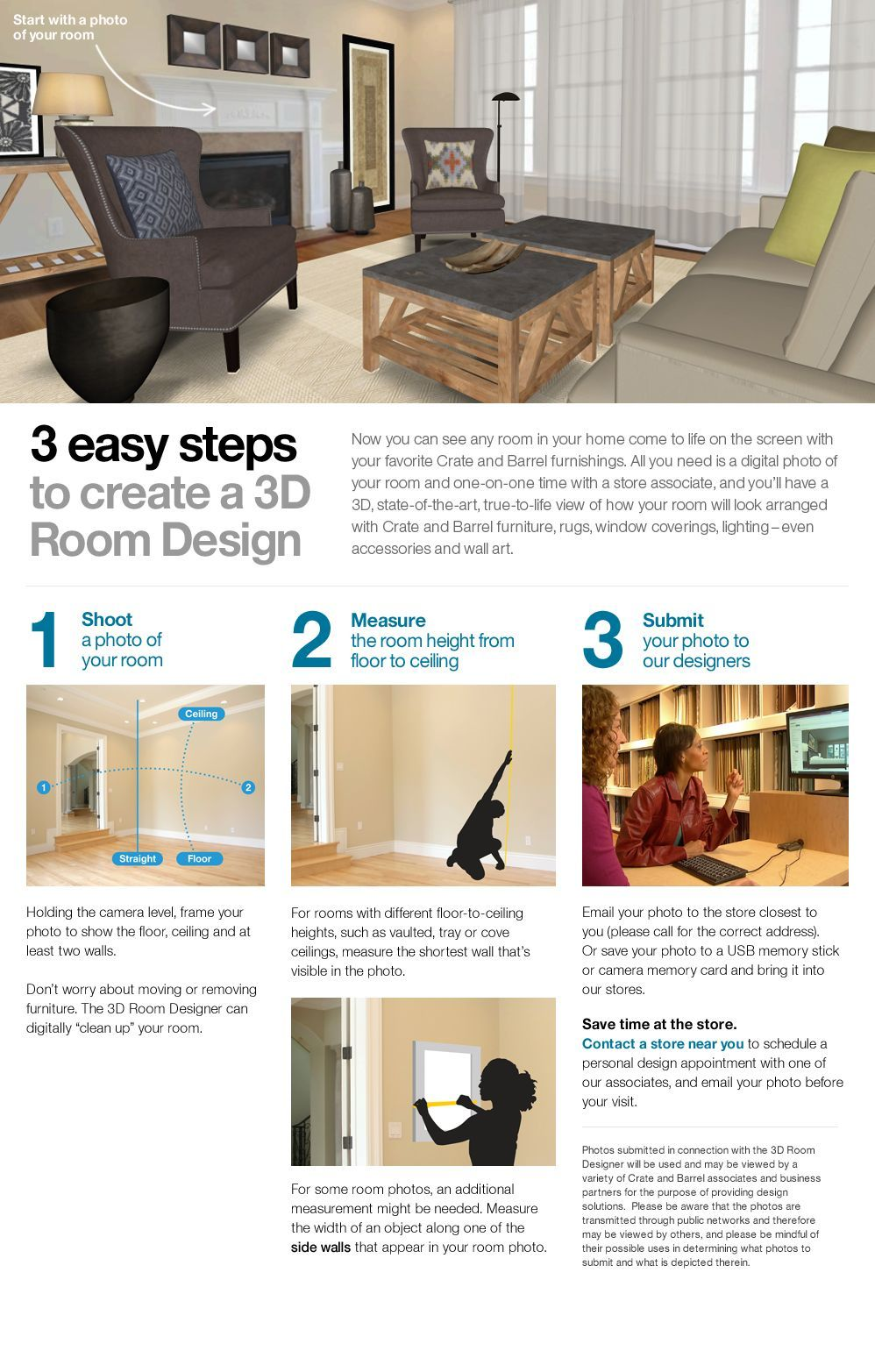 3 easy steps to create a 3D Room Design from Crate and Barrel Oh