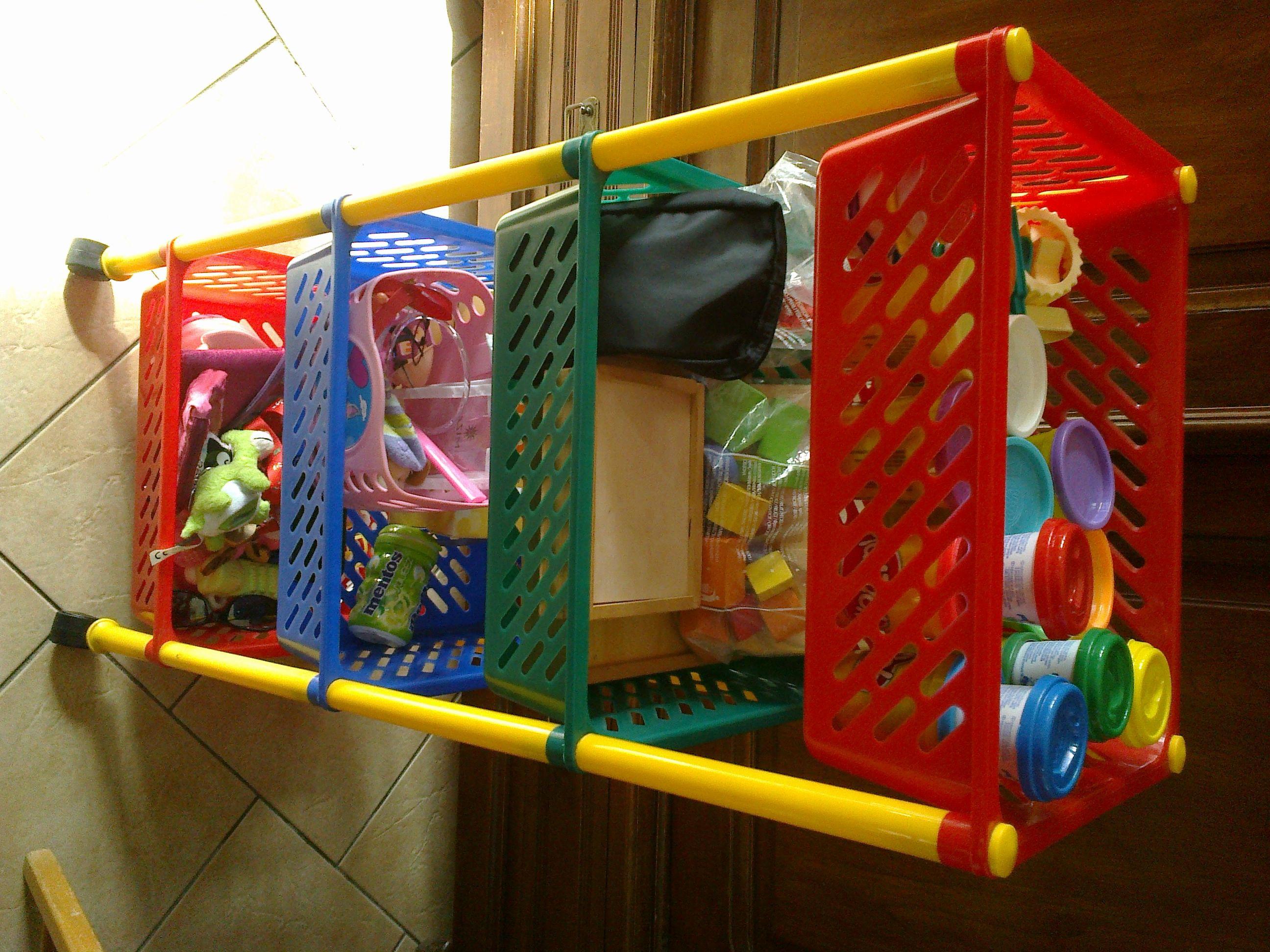 Une desserte à fruits et légumes  multicolore pour ranger et trier les jouets des enfants. Dimensions impeccables pour être à la hauteur des petits, les jouets restent accessibles et visibles. Petit plus : les roulettes, pratiques pour faire le ménage...Trouvée sur Leboncoin pour 5€...