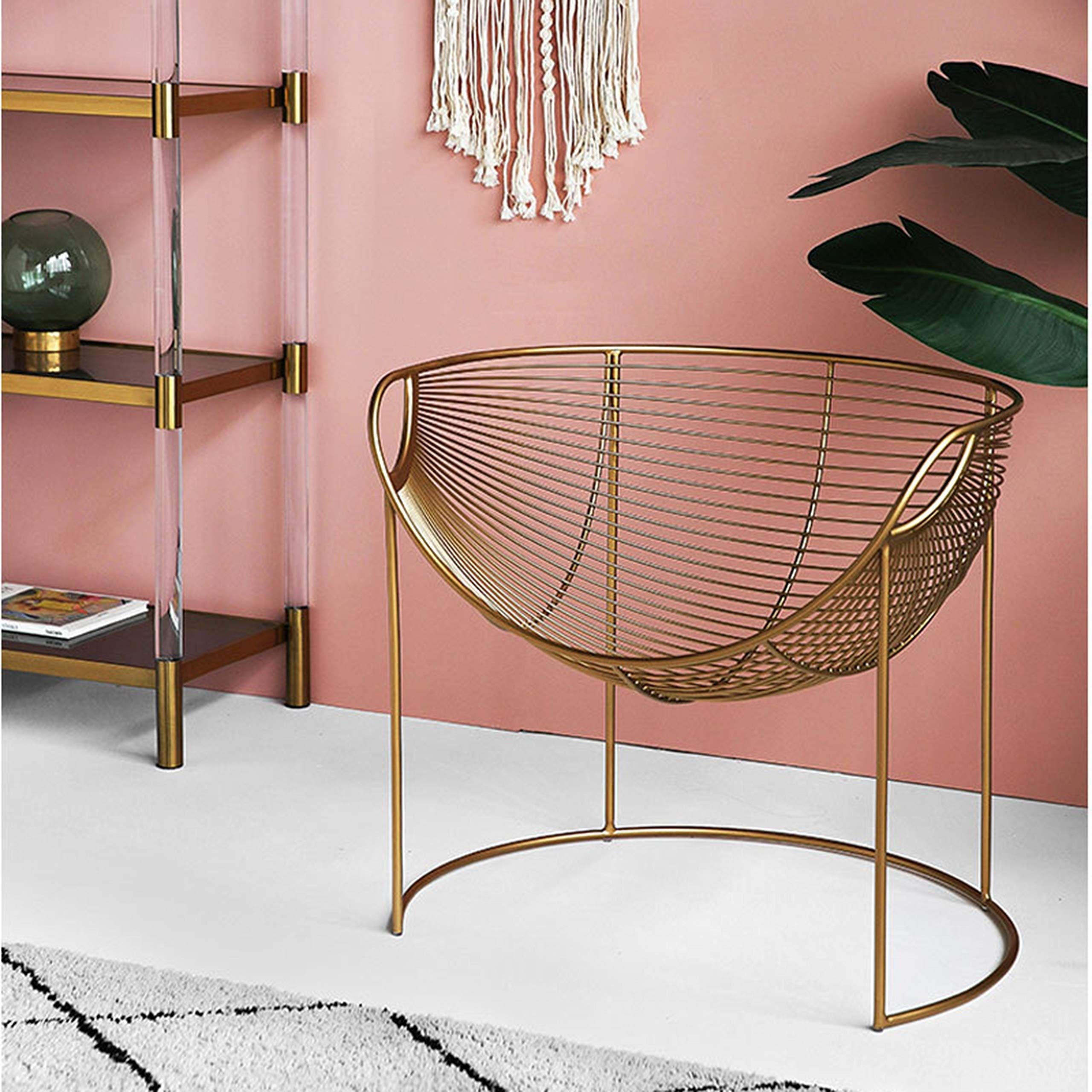 Anyer metal hollow chair creative personality gold iron
