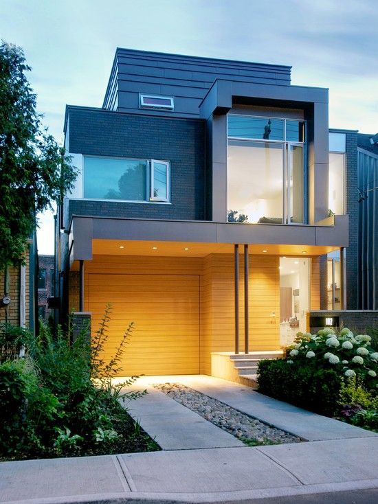 Cool house design with wooden garage door look stylish and for Cool modern house designs