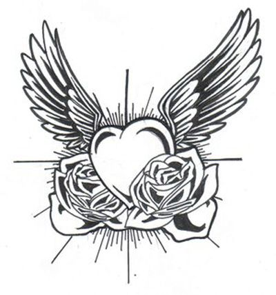 heart shaped angel wings tattoo | Heart And Wings Tattoo - Free ...