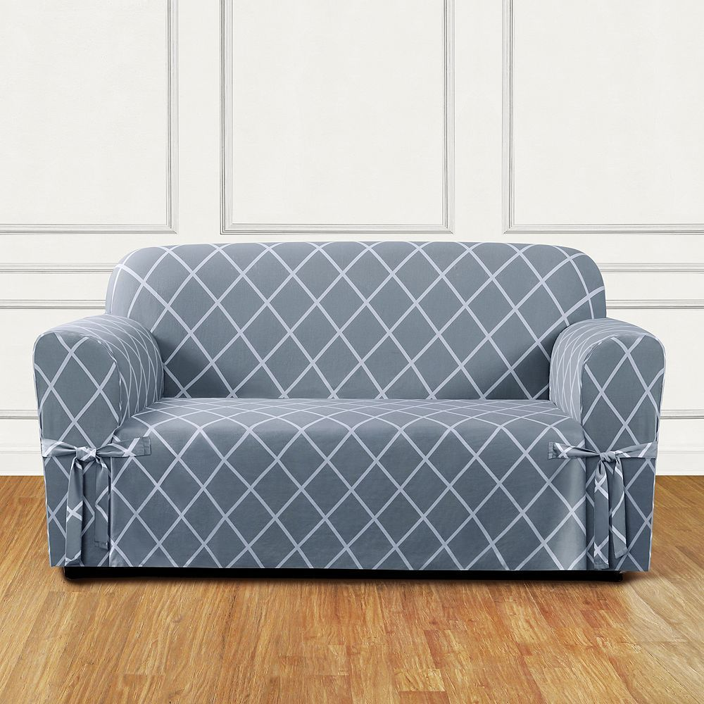 Sure Fit Lattice Loveseat Slipcover, Blue