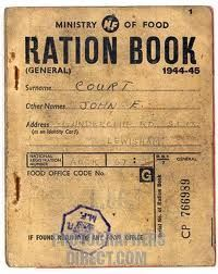 WWII Ration Book - Throughout the war, people received a ration-book for each month. There were ration-tickets for everything from eggs, flour, coal, cigarettes, meat and clothing.