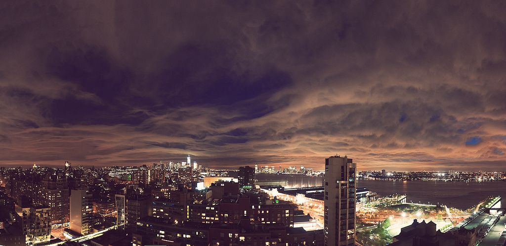 While Lucy and I were shooting an event over the weekend, I was able to sneak away onto a balcony for a minute capture the evening sky with this 14 shot panorama.  I'd suggest seeing it larger.  Hope you all enjoyed your weekend!