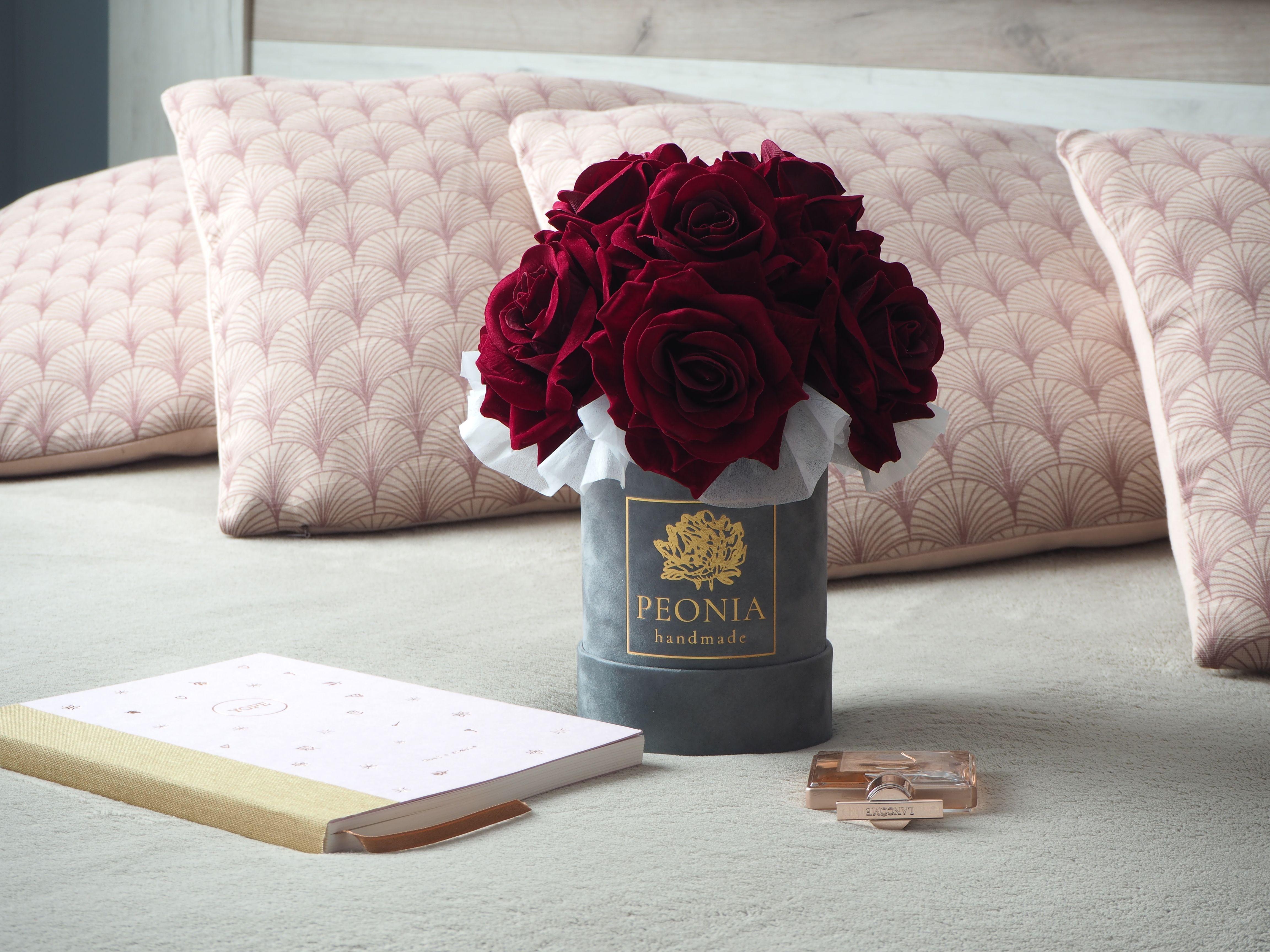Ekskluzywny Flower Box Welur Wieczne Roze Aksamit