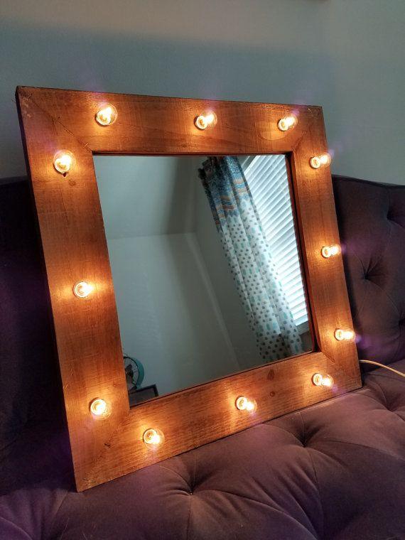 Wood vanity mirror light up light bulbs rustic by marqueemarket wood vanity mirror light up light bulbs rustic by marqueemarket aloadofball Choice Image