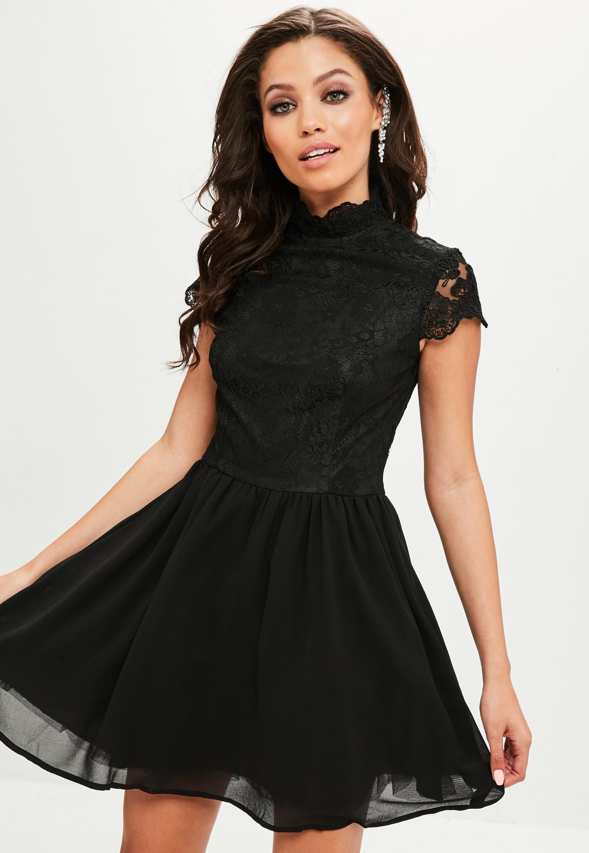 Missguided - Black High Neck Lace Skater Dress  1b1154baa