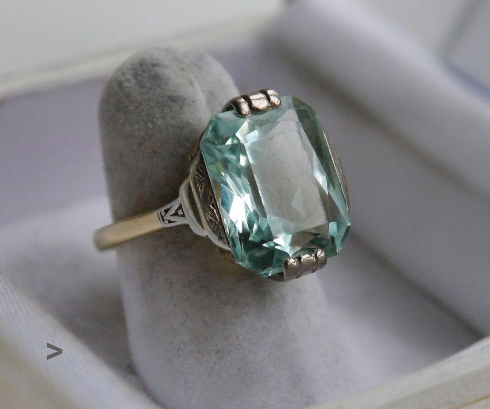 Antique art deco ring 14k green gold 93ct blue cyan