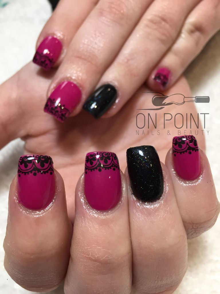 Fluid nail design acrylic nails with pink and black gel polish ...