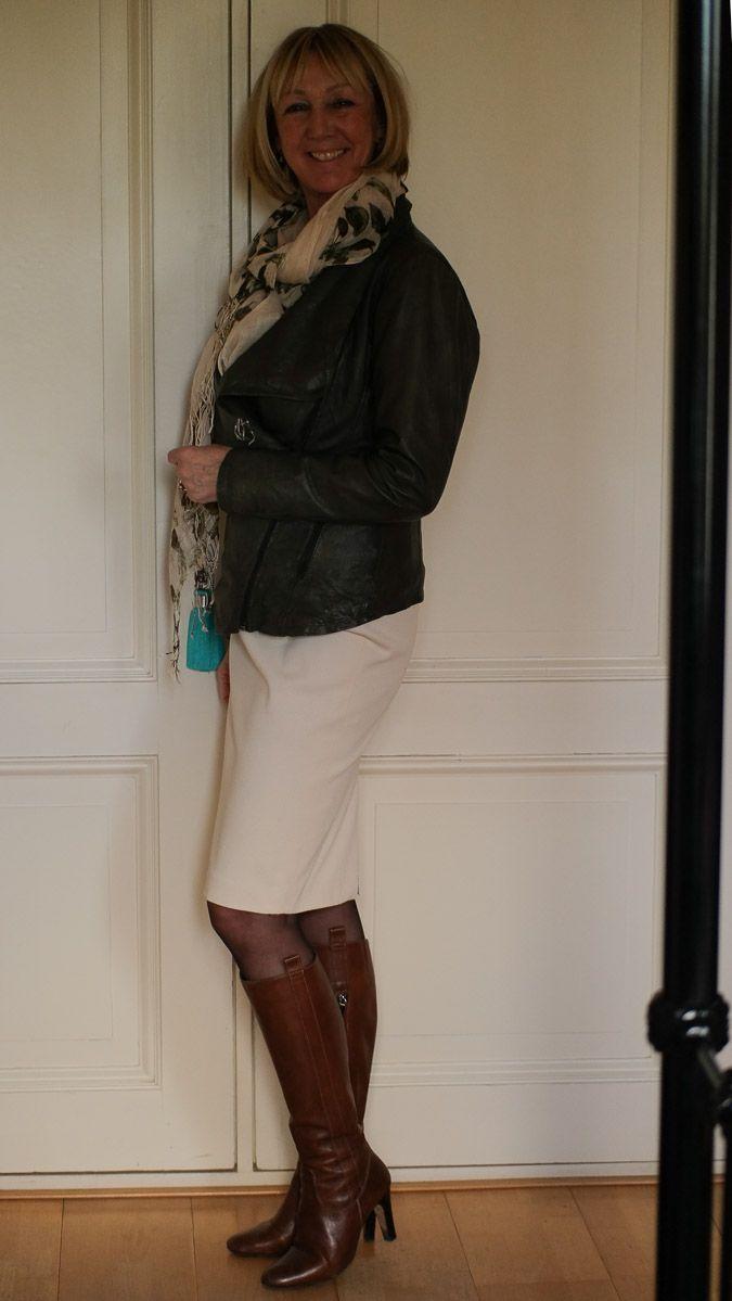 cream pencil skirt, green leather jacket, tan boots (santoni