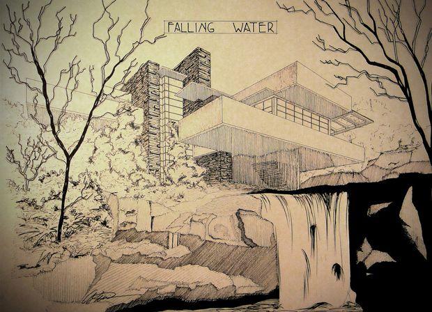 Frank lloyd wright fallingwater fallingwater - La maison sur la cascade ...